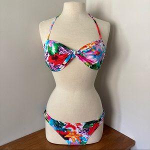 Wet Seal Floral Rainbow Bikini Set Top and Bottoms